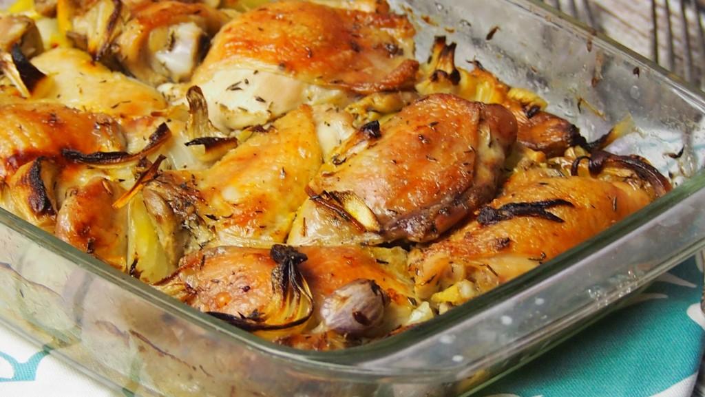 kurczak pieczony z plastrami cytryny